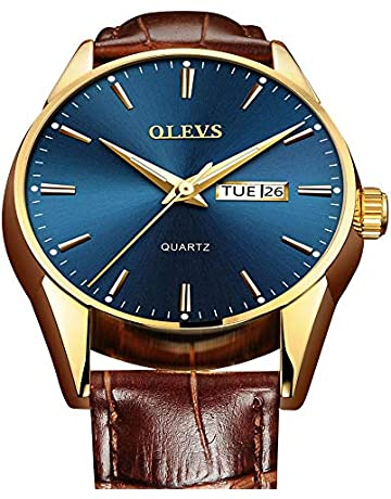 44f8dc683 Mens Watches Leather Band,Blue Face Mens Watch,Day and Date Watches for Men