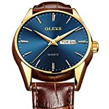 Mens Watches with Day and Date,Mens Watch Blue Face Brown Band,Watches for Men Leather,Men Dress Watches on Sale,Classic Watches for Men,Luminous Men's Wristwatch with Date