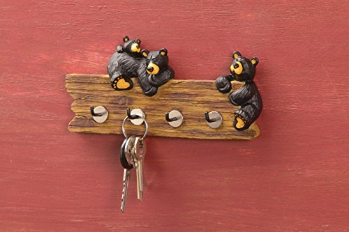 Black Bear Family 3.5 x 7.5 Hand-cast Resin Figurine Key Holder