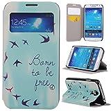 Galaxy S4 Case,Samsung Galaxy S4 Case,Gift_Source Samsung Galaxy S4 Flip Case [Slim Fit] Window View PU Leather Case Flip Cover Folio Case for Samsung Galaxy S4 i9500 Case,Bird