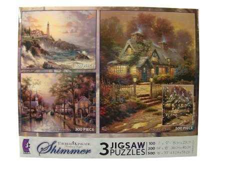 Thomas Kinkade Shimmer 3 Pack Jigsaw Puzzles: 100 - 300 - 500 Pieces - Clearing Storm - Hometown Morning - Teacup (Cottage Teacup)
