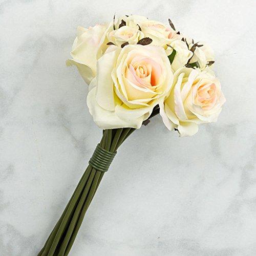 Factory Direct Craft Light Peach Artificial Silk Nosegay Rose Bunch Bouquet