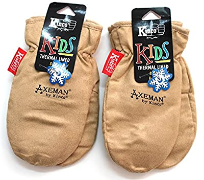 Kinco - Warm, Fleece, Lined, Suede, Mittens for Kids (2-Pack)