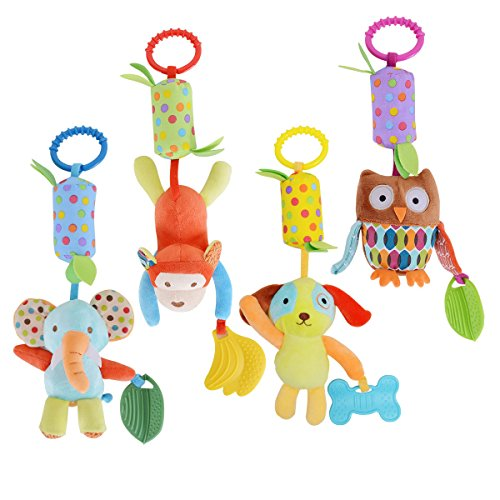Infant Car Seat Clip (HAHA Baby Soft Hanging Rattle Toy Infant Stroller Car Seat Crib Pram Hanging Bell Puppet Toys Cute Travel-Along Activity Kids Plush Animal Wind Chime with Teethers for 0 to 36 Months Boys Girls)