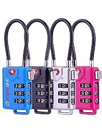 TSA - Candados de equipaje (combinación reajustable, cuerpo de aleación), 4 Colors Cable 4 Pack