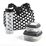 Fit & Fresh Women's Westport Insulated Lunch Bag with Matching Reusable Container Set, Ice Pack and 20-ounce Tritan Water Bottle, Black Double Dot