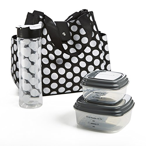 Fit & Fresh Women's Westport Insulated Lunch Bag with Matching Reusable Container Set, Ice Pack and 20-ounce Tritan Water Bottle, Black Double Dot - Fresh Lunch