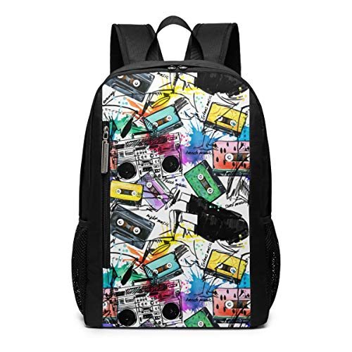 Musical Vinyl Cassette Watercolor Theme Pattern Printed Bookbag Book Back Middle School Bag Backpack Travel Hiking Mini Gym Gear Girls Boy Teen Women Kid Men Gift