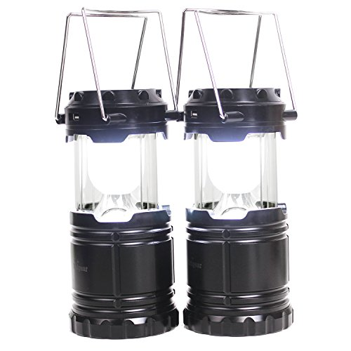 2 Pack Rechargeable Camping Lantern- Solar Charging Camp LED Lantern- Collapsible Camping Flashlights for Backpacking Emergencies, Camping, Reading, Hurricanes, Outages, Storms