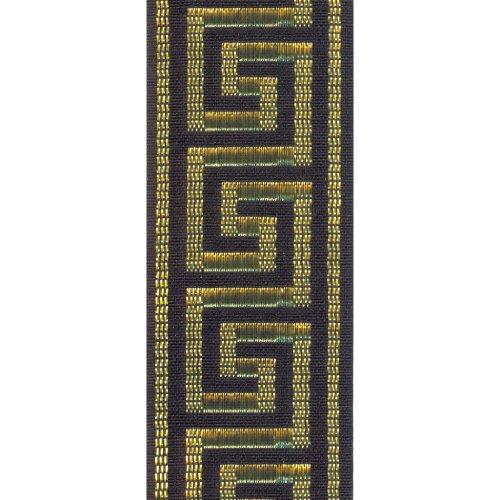 Offray Greek Key Craft Ribbon, 7/8-Inch Wide by 10-Yard Spool, Black with Metallic (Black Fabric Spool)