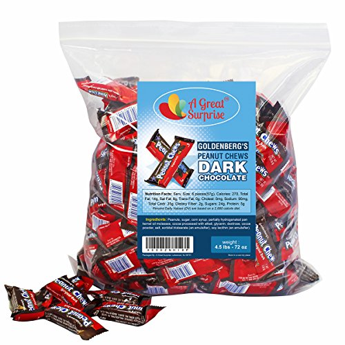 Goldenberg's Peanut Chews Original Dark Chocolate, 4.5 LB Bulk Candy (Chocolate Chew)