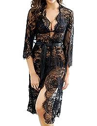 Women's Sexy Lace Long Robe Lingerie Set(4 Pieces)