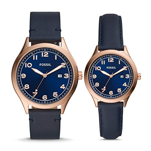 Fossil His and Her Wylie Three-Hand Navy Leather Watch Box Set BQ2470SET