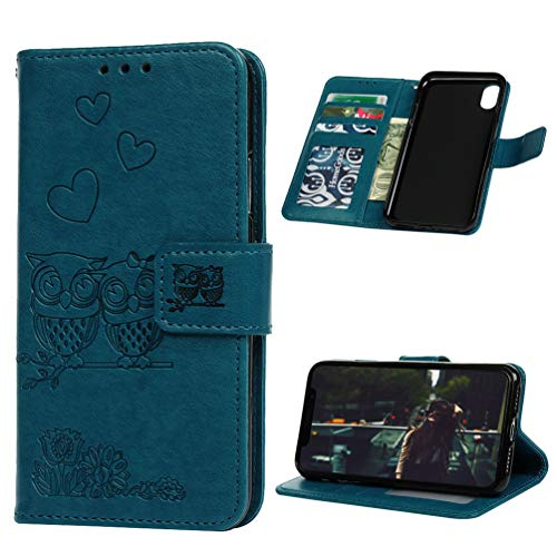 iPhone Xs Case, iPhone X Case, Wallet Flip Folio Case Fashion Premium PU Leather Wallet Embossed Owl Love Heart Flip Folio Case Kickstand Card Slots Shockproof TPU Bumper Ultral Slim Cover - Blue