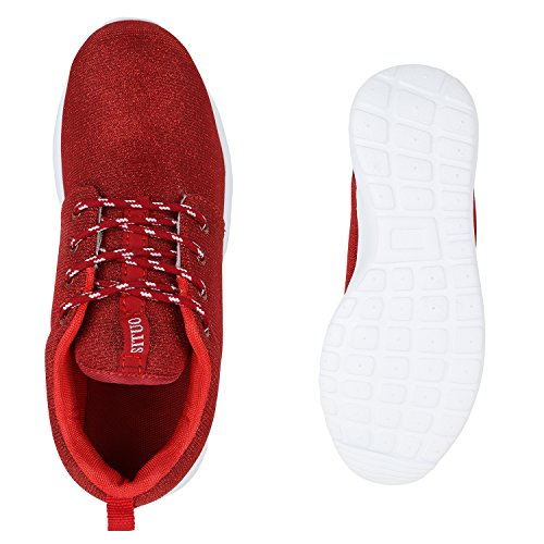 Stiefelparadies Unisex Damen Herren Laufschuhe Sportschuhe Übergrößen Sneaker Profilsohle Glitzer Turnschuhe Freizeit Schuhe Schnürer Flandell Rot