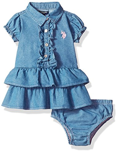 U.S. Polo Assn. Baby Girls' Casual Dress, Blue Wash, 3/6 Months