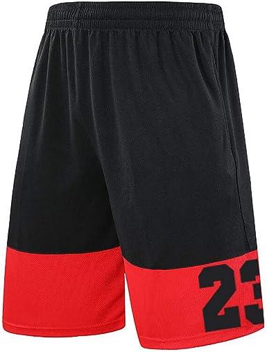 BAACD NO.23 Pantalones Cortos de Baloncesto para Hombres con Bolsillos Zip Pack de Largo para niños Entrenamiento físico en Irving Hombres Sueltos Corriendo Pantalones Cortos Playa Negro: Amazon.es: Ropa y accesorios