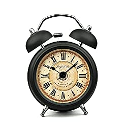XIDUOBAO 3 Vintage Retro Fashioned Quiet Non-ticking Sweep Second Hand, Quartz Analog Twin Bell Clock, Battery Operated, Loud Alarm(Black Roman numbers ) (3)