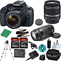 Canon EOS Rebel T5 Camera with 18-55mm IS Lens + 75-300mm III Zoom + 2pcs 16GB Memory + Camera Case + Memory Card Reader + Professional Tripod + 6pc Starter Set - International Version