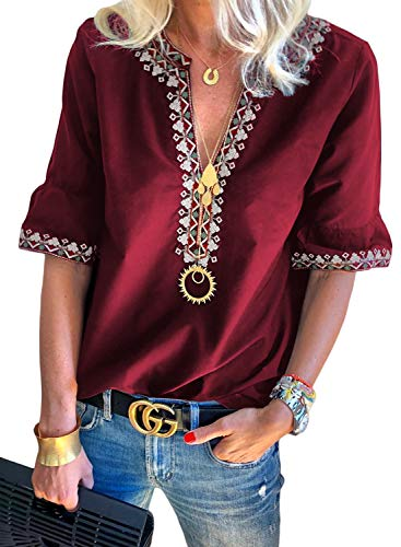(Asvivid Boho Embroidered Tops for Women Summer V Neck Blouses Ladies Short Sleeve Casual Blouse Tops M Red)
