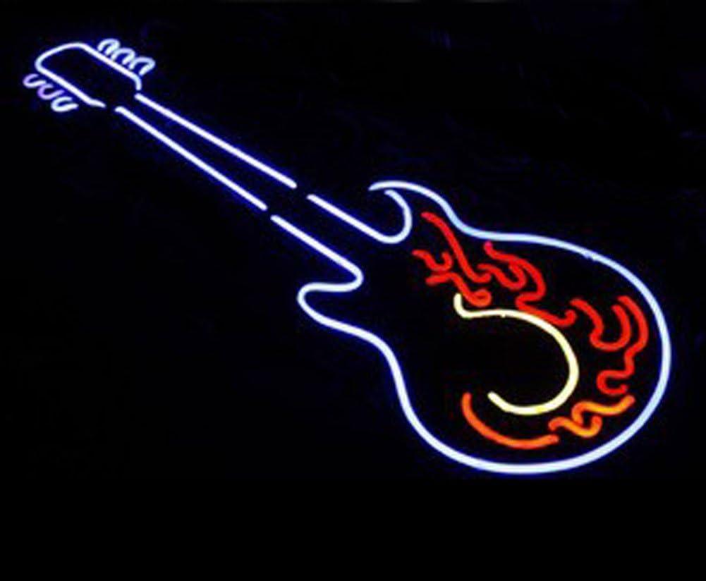"Rock Roll Guitar Neon Sign Light Lamp 20/""x16/"" Bar Decor Man Cave Real Glass"