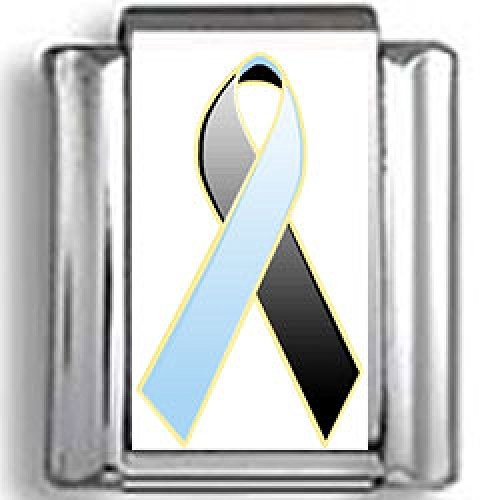 (Black and Blue Awareness Ribbon Photo Italian)