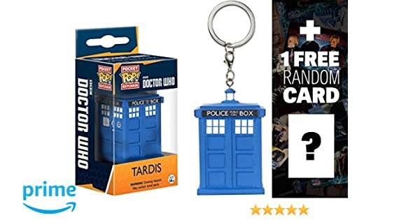 Doctor Who Tardis: Pocket POP! x Mini-Figure Keychain + 1 Free Official Dr Who Trading Card Bundle (086893)