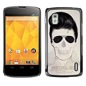 Shell-Star Arte & diseño plástico duro Fundas Cover Cubre Hard Case Cover para LG Google NEXUS 4 / Mako / E960 ( Elvis Rock And Roll Skull Text Music )