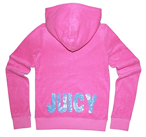 Juicy Couture Girls Terry Hoodie With Daisy Sequin 'Juicy' Design (Medium, Pink) (Juicy Couture Hooded Terry)