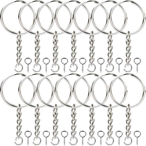 Onwon 100 Pieces Metal Split Key Ring 1 Inch / 25mm with Chain and Open Jump Ring and Screw Eye Pins Nickel Plated Keychain Parts and Connector Round Pendant Accessories for DIY - Exquisite Key Ring