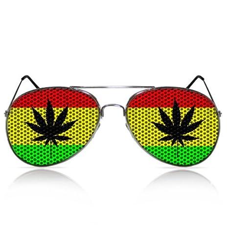 Partybrillen beklebte Sonnenbrillen Fliegerbrillen Fasching bedruckte Pilotenbrillen Karneval Promotionbrillen - Cannabis Blatt (Schwarz) mygafas.com PPB010009