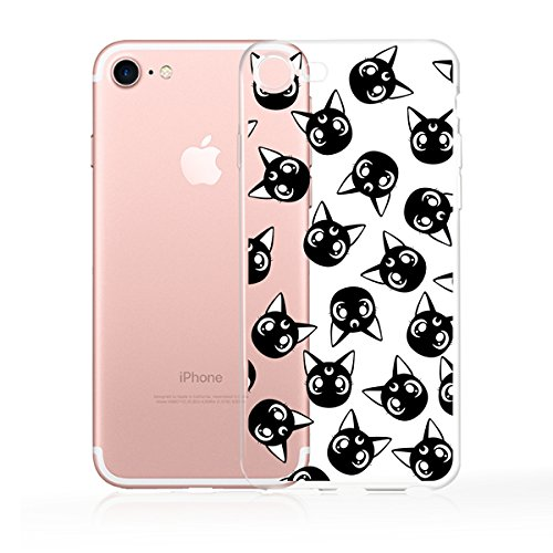 iPhone 6 / 6s Compatible , Designer Choice Collection Colorful Flexible Ultra Slim Transparent Translucent iPhone Case Cover - Luna Moon Black Cat Head Overload ()