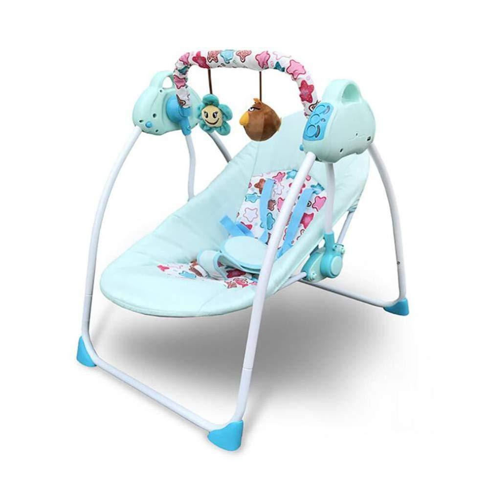 H&H - Sedia da Neonato elettrica, Pieghevole, Portatile, per Bambini da 0 a 3 Anni, blu, 1