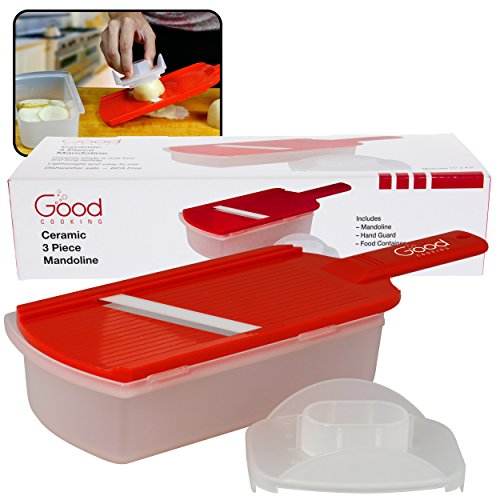 Ceramic Mandoline Slicer- 3 Piece Ceramic Slicer with Hand Guard and Food Container by Good Cooking