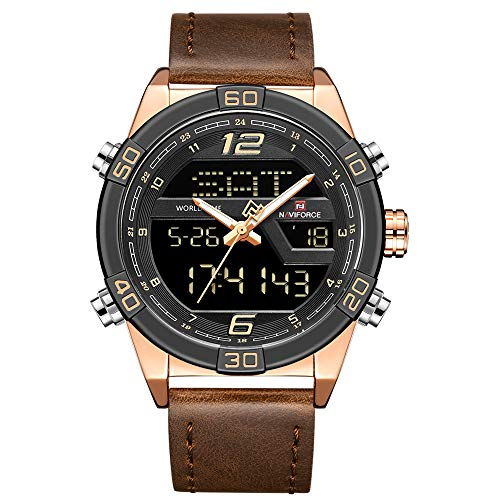 Digital Watches for Men Waterproof Leather Band Sport Watch with Alarm Military Dual Time Wristwatch ()