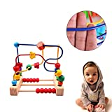 KateDy 1 pc Wooden Classic Large Wire Beads Maze Wooden Toys Around Beads Maze Baby Kids Intellence Early Educational Toys
