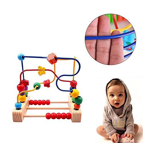 KateDy 1 pc Wooden Classic Large Wire Beads Maze Wooden Toys Around Beads Maze Baby Kids Intellence Early Educational (Elmo Toys Walmart)