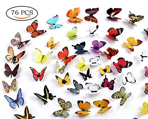 Neele 76PCS 3D Butterfly Removable Mural Stickers Wall Stickers Decal Wall Decor for Home and Room Decoration
