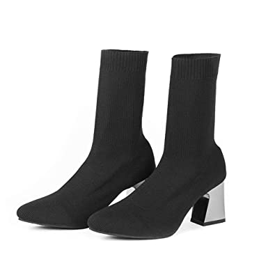 VELUCCHI Women Girls Mid Heel Boots - Black Thigh High Stretchy Fabric  Boots Mid Heel Calf 1852d9698b90