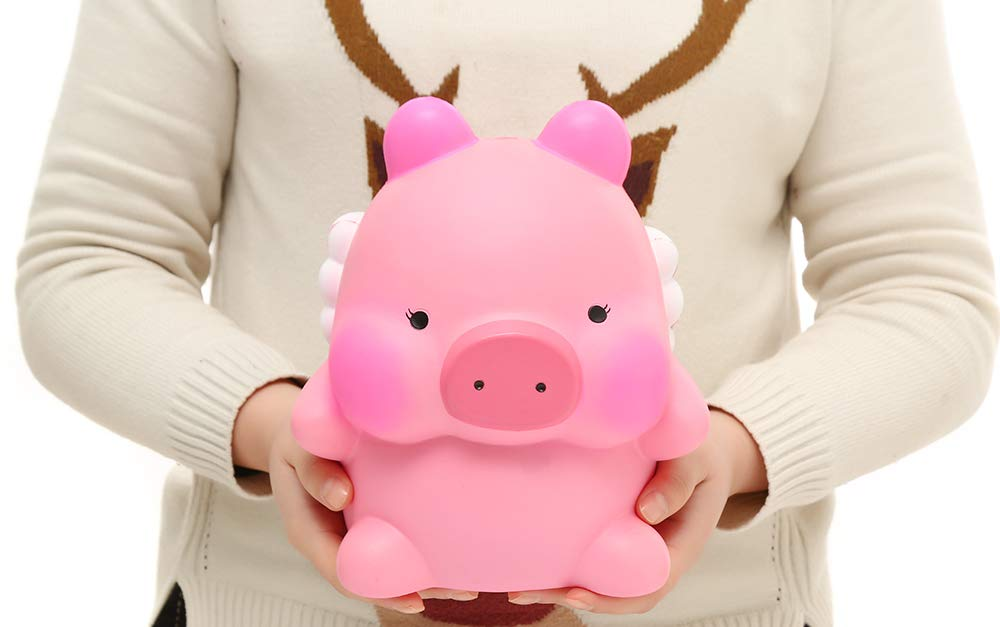 Sinofun 9 Inch Cute Pink Piggy Squishy, with White Wing, Giant Animal Squishies Package, Slow Rising Stress Reliever Squeeze Toys, Birthday Gifts for Girls/Kids by Sinofun (Image #6)