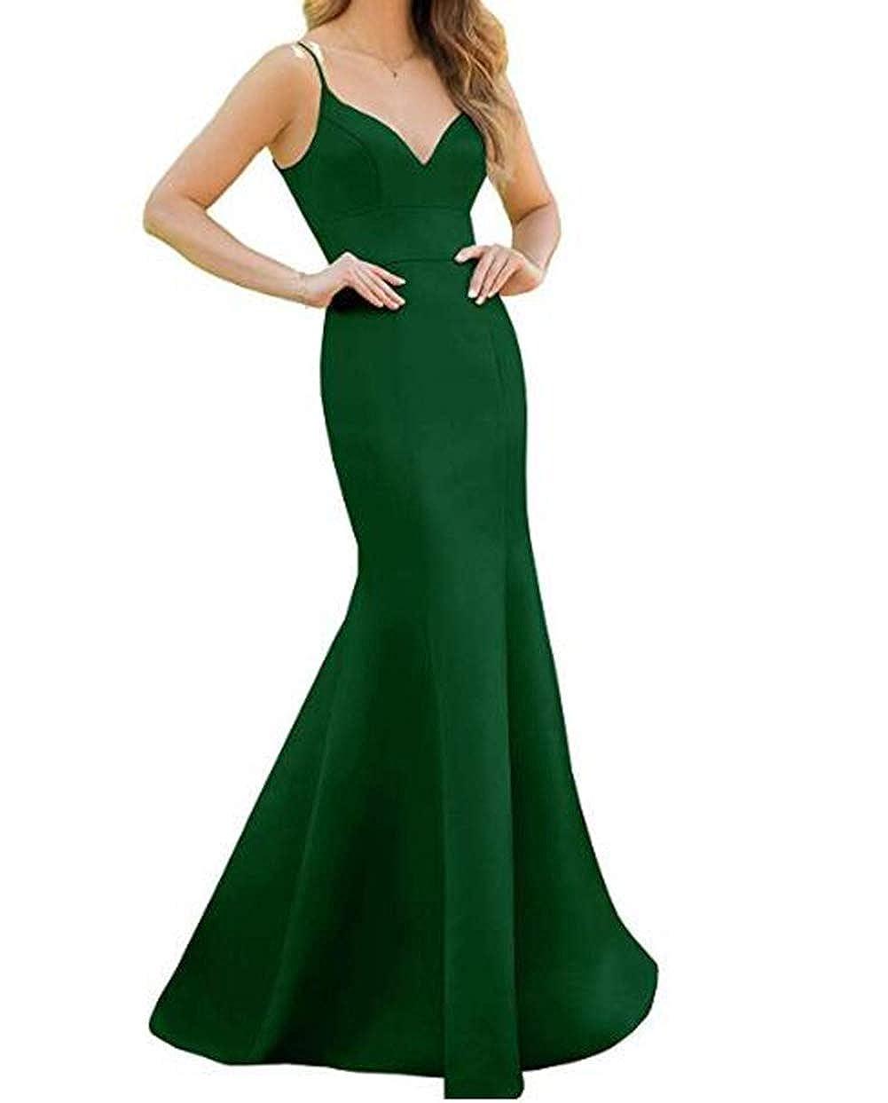 Emerald Tsbridal Women's Spaghetti Straps Satin Bridesmaid Dress Long Mermaid V Neck Formal Prom Evening Party Dresses