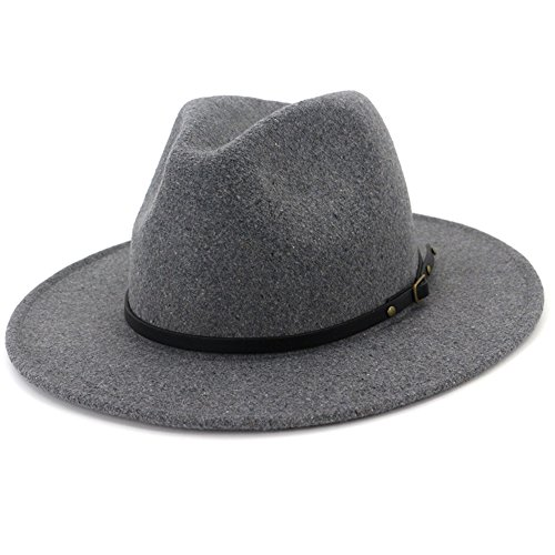 Lisianthus Women Wide Brim Wool Fedora Panama Hat with Belt Buckle Light-Gray ()