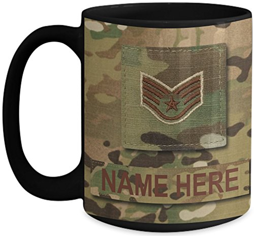 Sergeant Coffee Mug (US Air Force (USAF) Staff Sergeant (SSgt) E5 OCP Coffee Cup - Personalized Military OCP Uniform 15 oz Mug - Customize with Name/Text/Rank (Black))