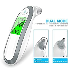 Vaorwne Ear and Forehead Thermometer Digital Medical Infrared Thermometer for Baby Children and Adults Fahrenheit and Celsius Convertible,Easy to use for Your Newborn - Quick Read/ 130 x 30 x 40mm