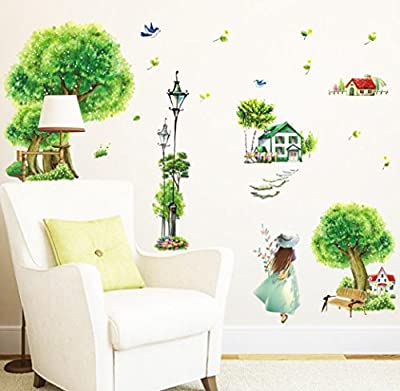 BIBITIME Mountain village Countryside House Green Tree Wall Decal Sticker for Kids Room Decor Nursery Bedroom Street Lamp Girls Flying Birds Art Wallpaper