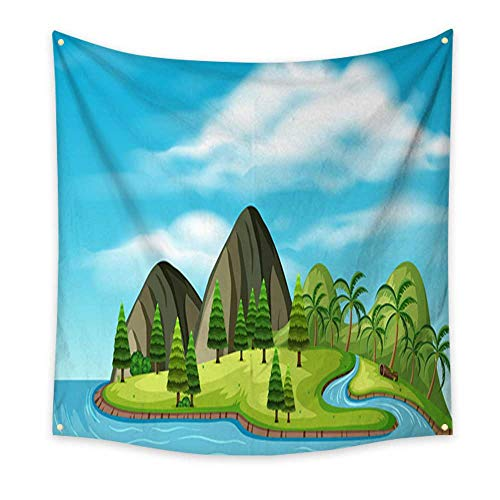 homehot Apartment Decor Tapestry A Natural Beautiful Tropical Island Bedspread Dorm Accessories Decor 32W x 32L Inch ()
