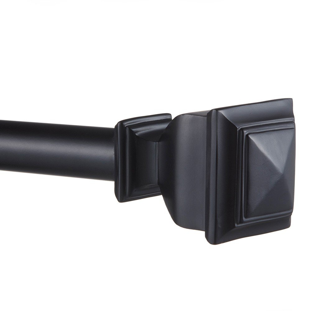 Exclusive Home Napoleon 1'' Curtain Rod and Coordinating Finial Set, Matte Black, Adjustable 66''-120''