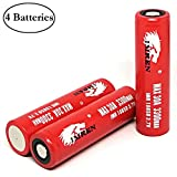 4 Units with 2 Battery Organizers IMREN 3300mAh 30A Flat Top Battery, Rechargeable High Drain for Electric Tools, Toys, LED Flashlights, Torch, and Etc