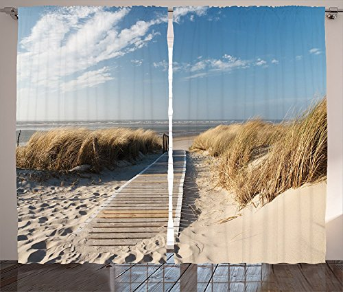 Ambesonne Seaside Decor Collection, Footpath Sunny Day Windy Weather European Beach Grass Germany Landscape Image Print, Living Room Bedroom Curtain 2 Panels Set, 108 X 84 Inches, Blue Ivory