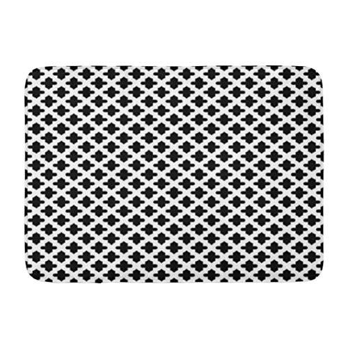 Moroccan Pattern Bathroom Rugs,LILYMUA with Ornament Oriental Traditional Shapes Wallpaper GridBathmat Nonslip,Absorbent Bath Mat Dri-Soft Bath Rug for Bathroom Bath Tub Toilet 17''L x - Rug Ornament Traditional